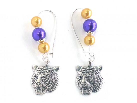 Purple Gold Pearl Tiger Kidney Wire Earrings