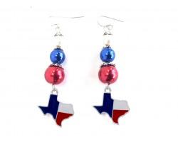 Texas Map Flag Pearl Bead Hook Earrings