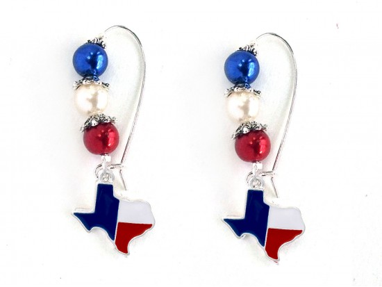 Texas Map Flag Pearl Bead Kidney Wire Earrings