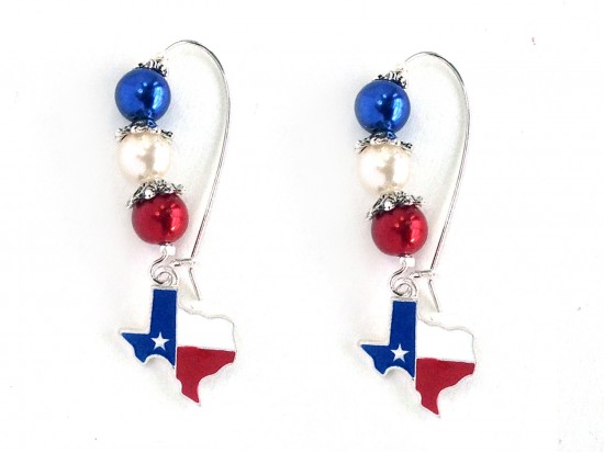 Texas Map Flag Pearl Bead Kidney Wire Earrings