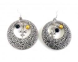 Gold Black Silver Filigree Hoop Earrings