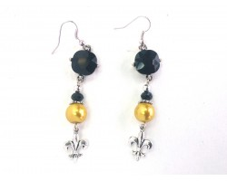 Black Gold Crystal Fleur De Lis Hook Earrings
