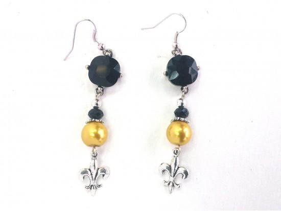 Black Gold Crystal Fleur De Lis Hook Earrings