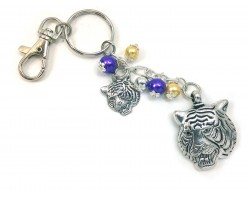 Purple Gold Tiger Head Key Chain