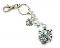 Silver Tiger Head Key Chain