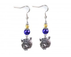 Purple Gold Bead Tiger Hook Earrings