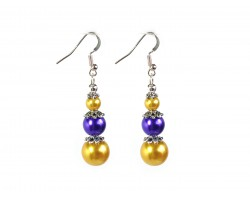 Purple Gold Graduated Bead Hook Earrings