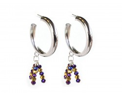 Purple Gold Bead Hoop Post Silver Earrings