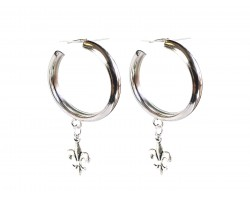 Silver Fleur De lis Hoop Post Earrings
