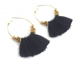 Black Tassel Crystal Gold Hoop Earrings