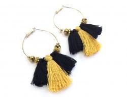 Black Gold Tassel Crystal Gold Hoop Earrings