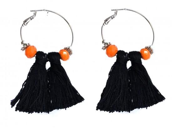 Black Orange Tassel Crystal Gold Hoop Earrings
