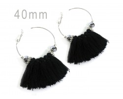 Black Tassel Crystal Silver Hoop Earrings