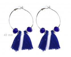 Blue White Tassel Crystal Silver Hoop Earrings