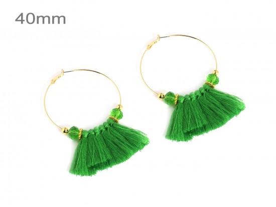 Green Tassel Crystal Gold Hoop Earrings