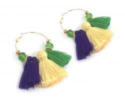 Mardi Gras Tassel Crystal Gold Hoop Earrings