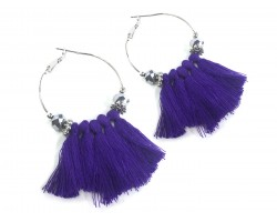 Purple Tassel Crystal Silver Hoop Earrings