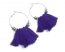 Purple Tassel Crystal Silver Hoop Earrings