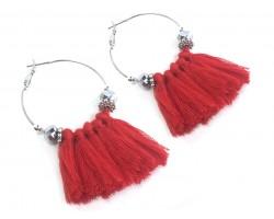Red Tassel Crystal Silver Hoop Earrings