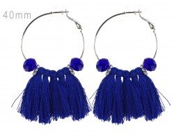 Blue Tassel Crystal Silver Hoop Earrings