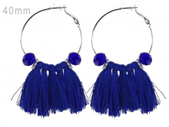 Blue Tassel Crystal Silver Hoop Earrings
