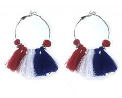 Red White Blue Tassel Crystal Silver Hoop Earrings