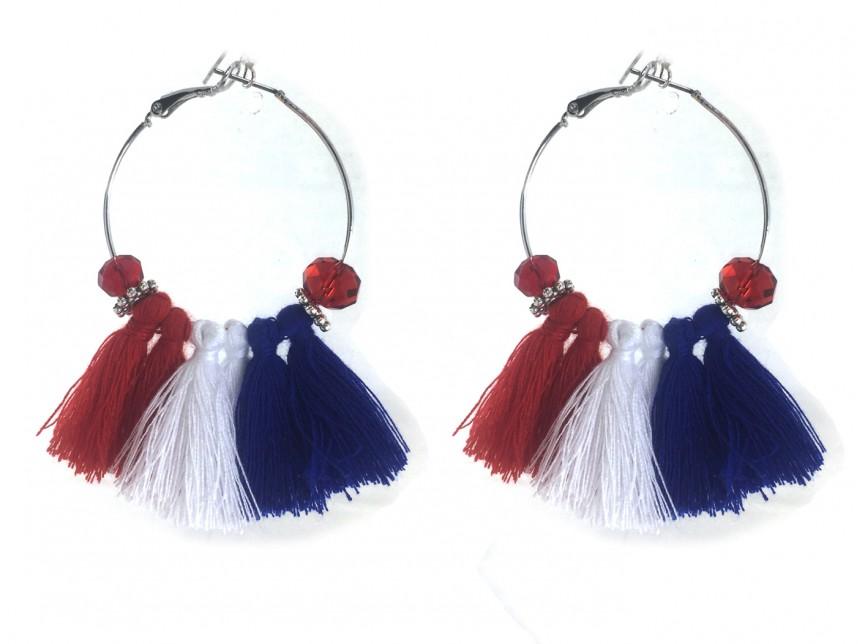 Red White Blue Tel Crystal Silver Hoop Earrings