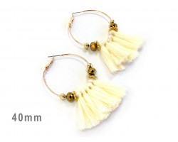 Off White Tassel Crystal Gold Hoop Earrings