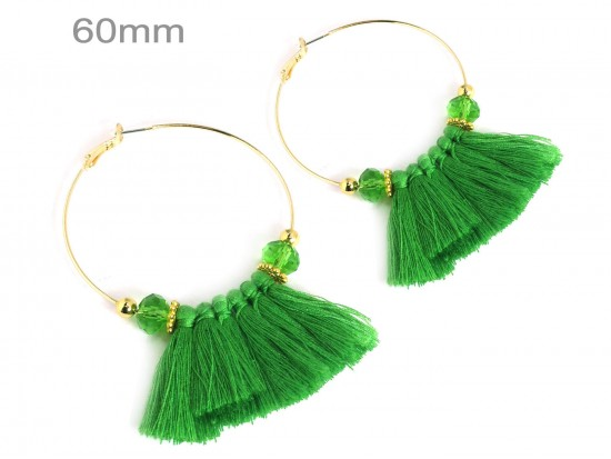 Green Tassel Crystal Gold Hoop Earrings