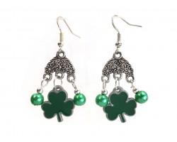 Green Clover Pearl Chandelier Hook Earrings