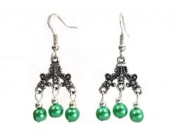 Green Pearl Chandelier Hook Earrings