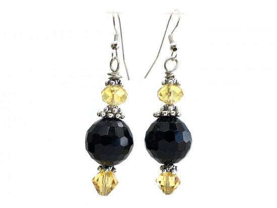 Black Gold Color Crystal Hook Earrings