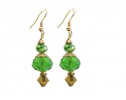 Green Color Crystal Gold Hook Earrings