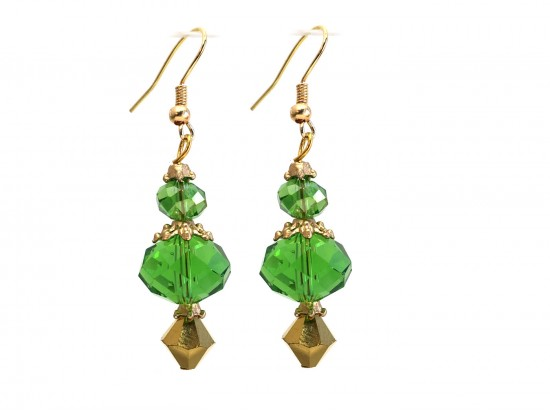 Green Color Crystal Gold Hook Earrings