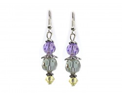 Easter Multi Crystal Silver Hook Earrings
