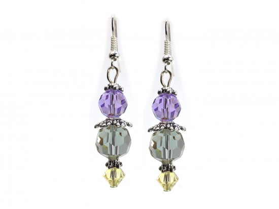 Easter Multi Crystal Silver Hook Earrings