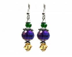 Mardi Gras Color Crystal Hook Earrings