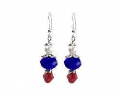 Red White Blue Crystal Hook Earrings