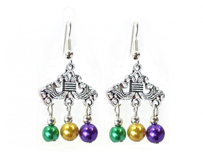 Mardi Gras Color Pearl Chandelier Hook Earrings