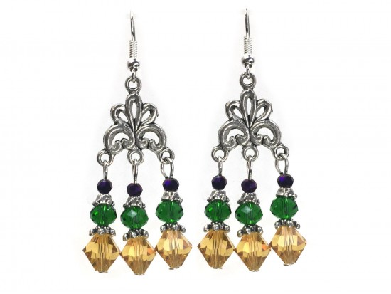 Mardi Gras Crystal Chandelier Hook Earrings