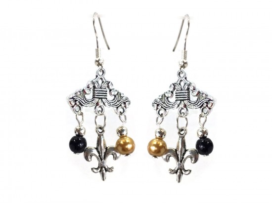 Black Gold Pearl Fleur De Lis Chandelier Hook Earrings