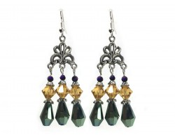 Mardi Gras Crystal Lg Chandelier Hook Earrings