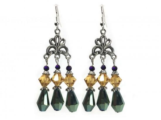 Mardi Gras Crystal Lg Chandelier Hook Earrings