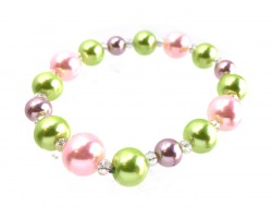 Easter Multi Pearl Crystal Bead Stretch Bracelet