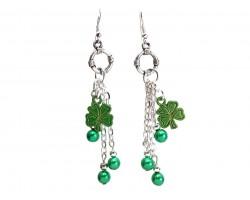 Green Pearl Clover Chain Hook Earrings