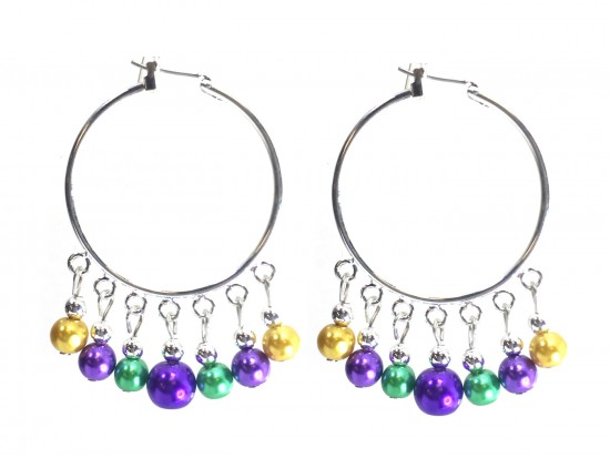 Mardi Gras Pearl Dangle Charm Hoop Earrings