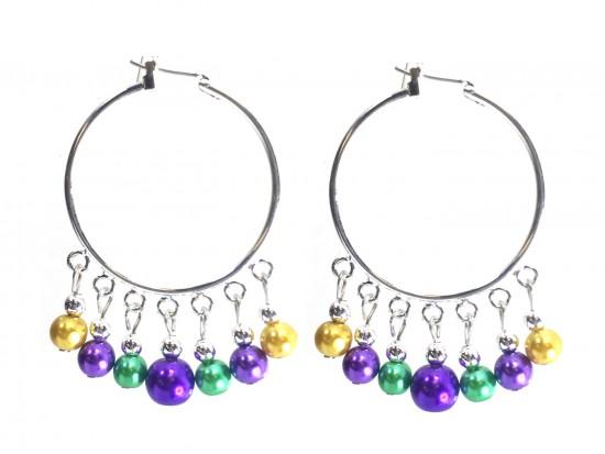 Mardi Gras Pearl Dangle Charm Hoop Earrings