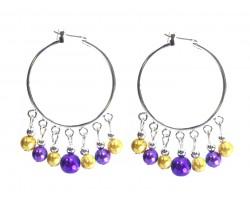 Purple Gold Pearl Dangle Charm Hoop Earrings