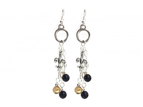 Black Gold Pearl Chain Hook Earrings