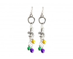 Mardi Gras Pearl Chain Hook Earrings